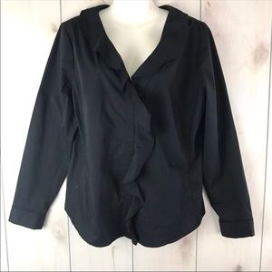 NWT New York & Co Black Ruffle Button Front Blouse